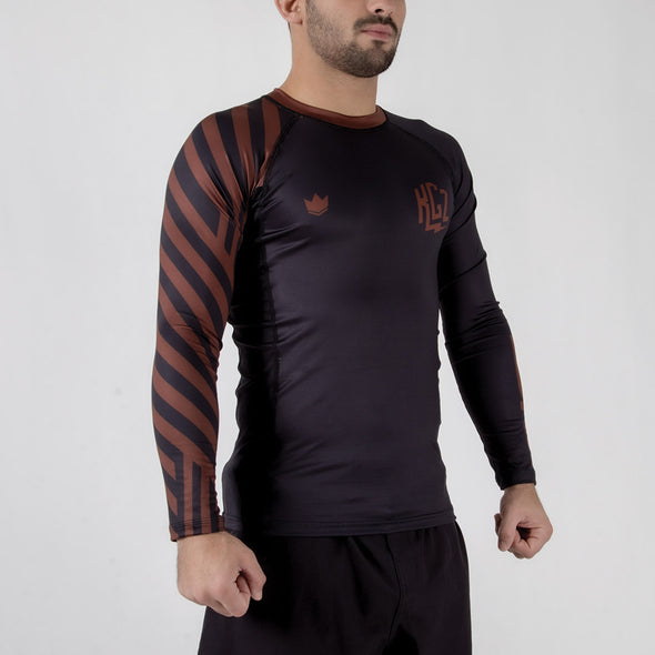 Kingz KGZ Ranked Rashguard- brown diagonal facing