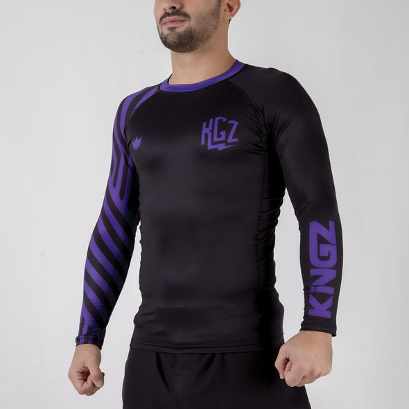 Kingz KGZ Ranked Rashguard-purple diagonal facing