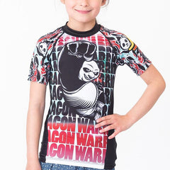 Fusion Fight Gear No-Gi & Compression L / White Fusion FG Kung Fu Panda Dragon Warrior Kids Rash Guard