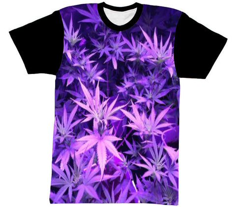 PURPLE MARIJUANA SHIRT BLACK SLEEVE - Forever Rich Clothing