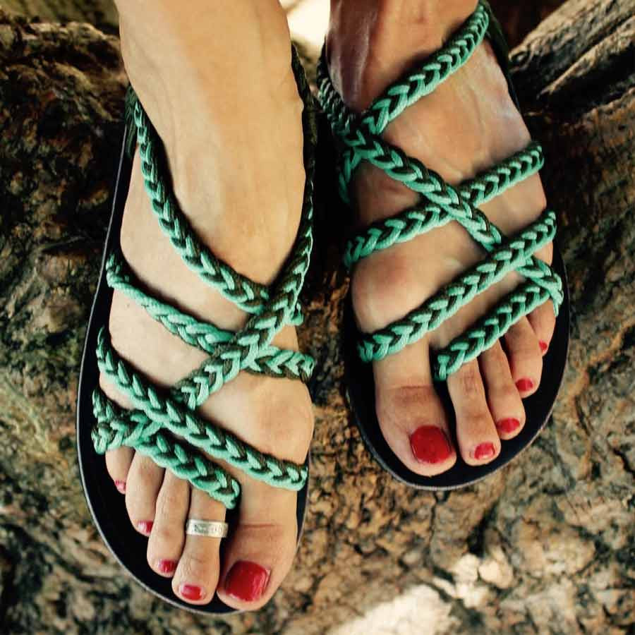 Women's Sandals - Green and Black Handmade Knitted Rope Cute Summer Sandals