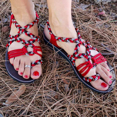 Women's Sandals - Red Black White Handmade Knitted Rope Cute Summer Sandals