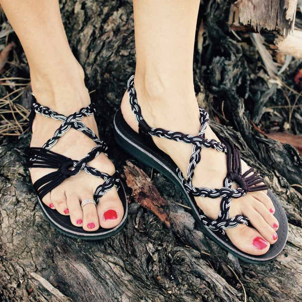 Women's Sandals - Black Handmade Knitted Rope Cute Summer Sandals