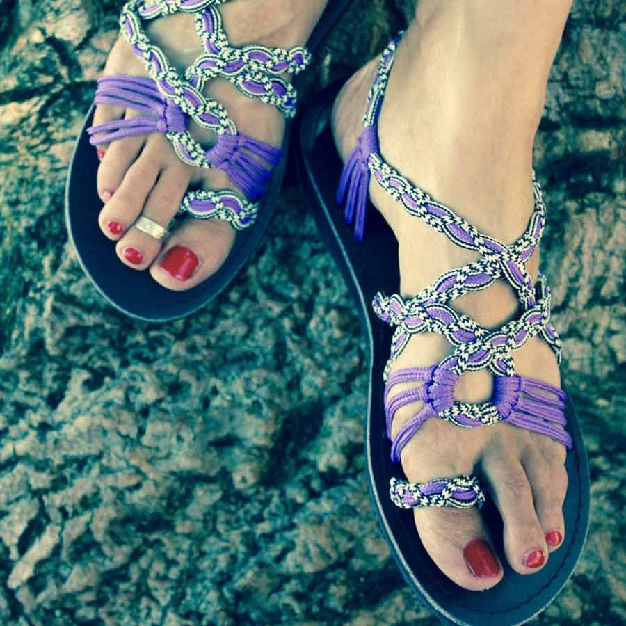Women's Sandals - Purple Handmade Knitted Rope Cute Summer Sandals
