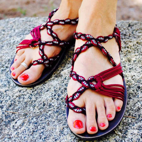 Women's Sandals - Burgundy and Black Handmade Knitted Rope Cute Summer Sandals