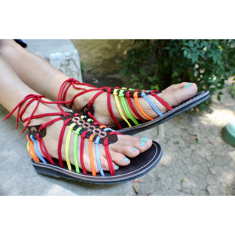 Colorful Leather Sandals