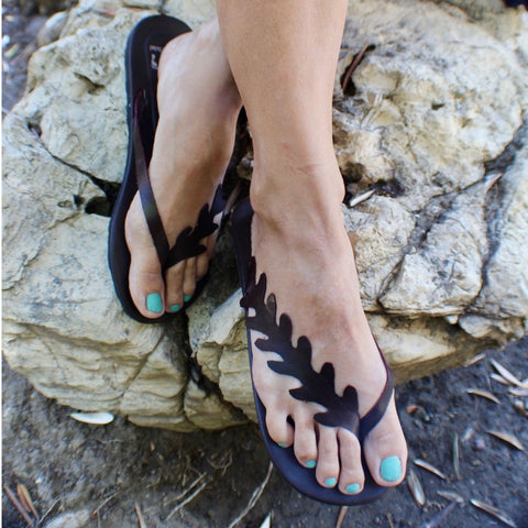Hand Made Leather Lobed Leaf Sandals