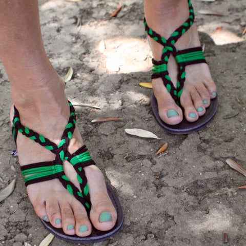 Green Handmade Knitted Rope Women's Sandals - Sizes 4-10 US W