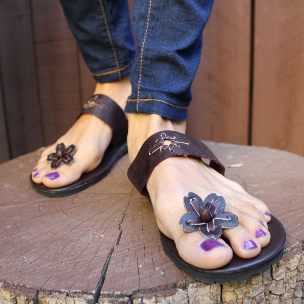 Hand Made Flower Leather Sandals - Tuk Tuk Sandals
