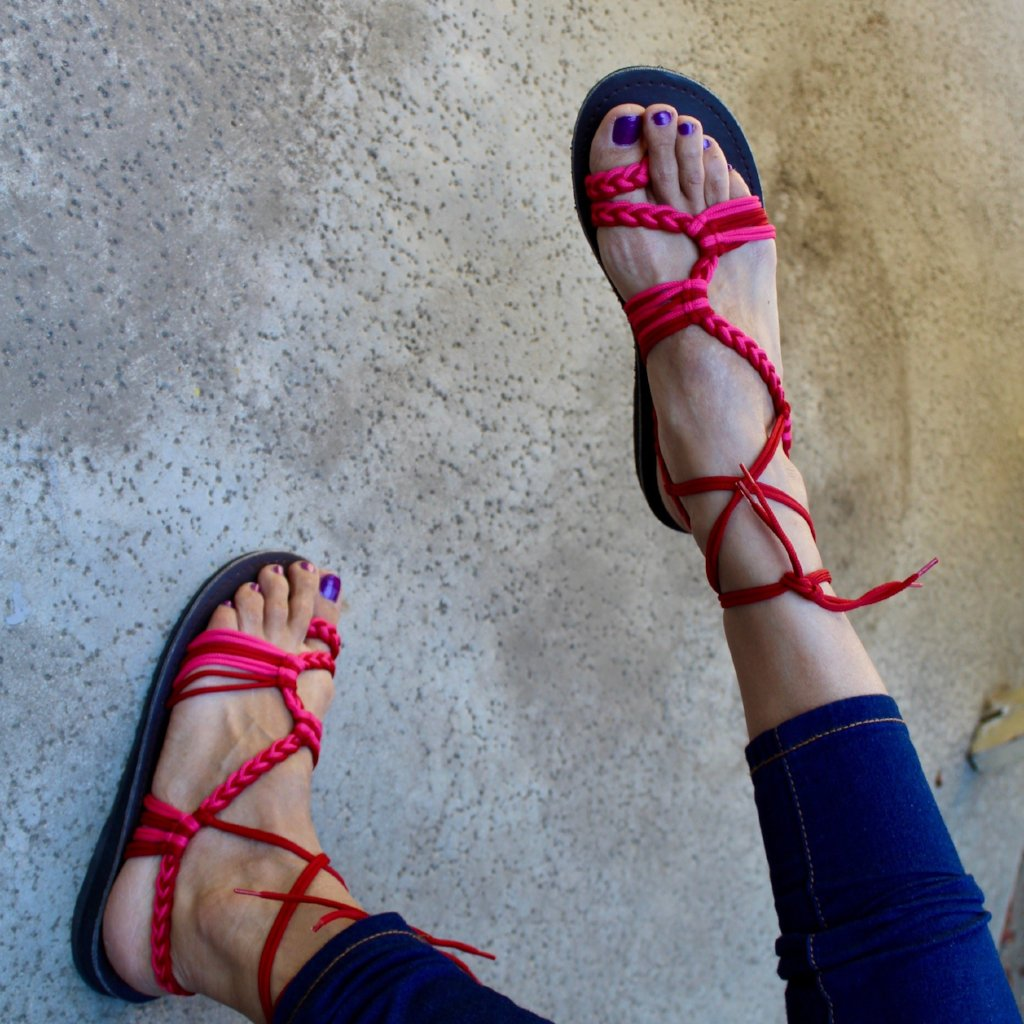Pink Gladiator Handmade Knitted Rope Women's Sandals - Sizes 4-10 US W