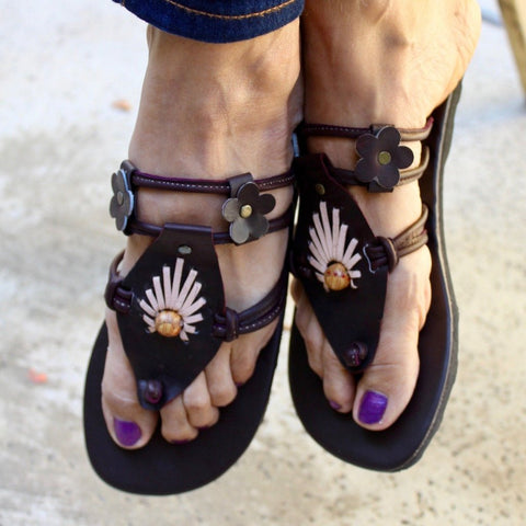 Hand Made Leather Sandals Slippers with Brown Rock - Tuk Tuk Sandals