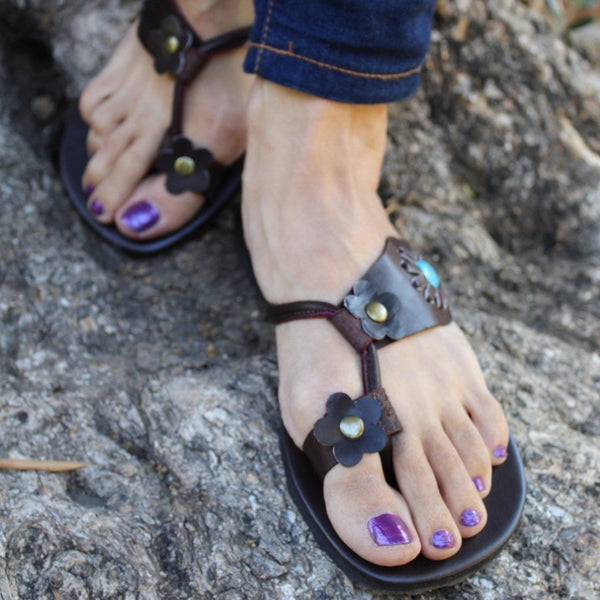 Hand Made Leather Sandals with Blue Rock