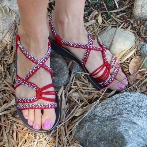 Red Handmade Knitted Rope Woman's Sandals - Sizes 4-11 US W