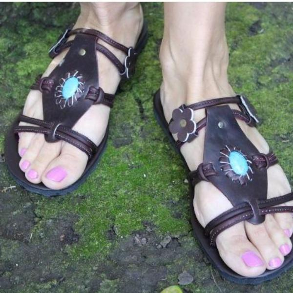 Hand Made Leather Sandals Slippers with Blue Rock