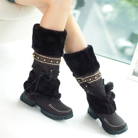 Black Women's Warm Fur Tassel Knee High Platform Boots With Decorative Strap And Pom Pom