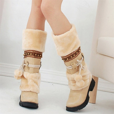 Beige Women's Warm Fur Tassel Knee High Platform Boots With Decorative Strap And Pom Pom