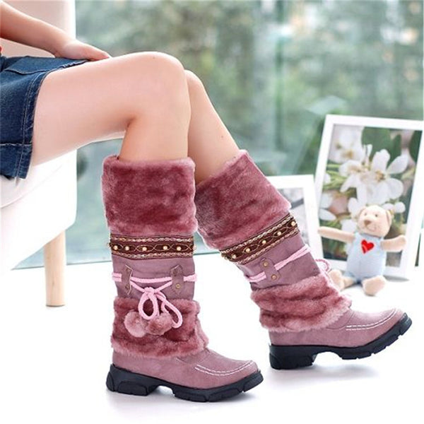 Pink Purple  Women's Warm Fur Tassel Knee High Platform Boots With Decorative Strap And Pom Pom