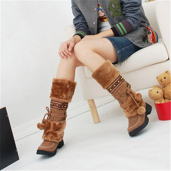 Brown Women's Warm Fur Tassel Knee High Platform Boots With Decorative Strap And Pom Pom