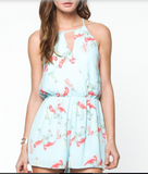 Blue flamingo romper
