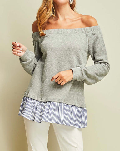 Grey Off-the-Shoulder top - Medium