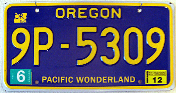 Oregon Pacific Wonderland lisense plate
