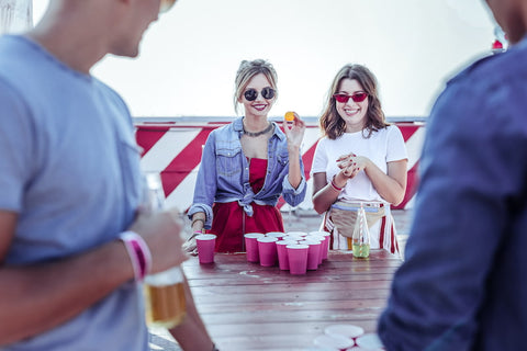 Tailgating game of beer pong