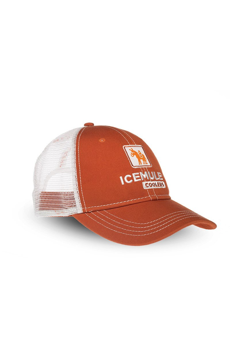 icemule orange trucker hat