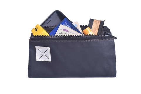 Pouch: Double Zipper [Navy-Gray]