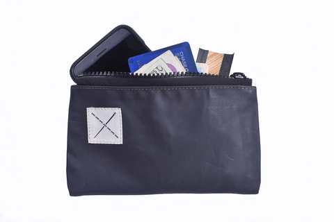 Pouch: Single Zipper [Navy-Gray]