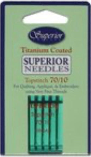 Superior Titanium-coated Topstitch 70/10 Needles