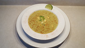 Creamy Poblano, Roasted Corn and Avocado Soup