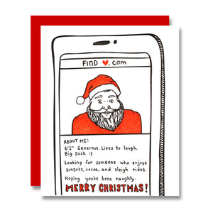 Single and Looking, Santa Dating App Holiday Card