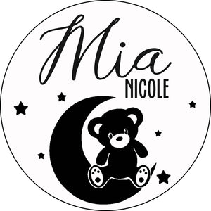 "18"" Bear Moon Round Name Sign - Stained Background"