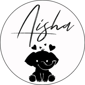 "18"" Elephant Love Round Name Sign - Stained Background"