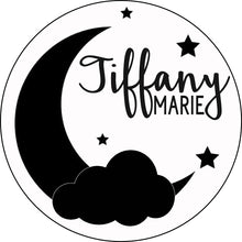 "Load image into Gallery viewer, 18"" Moon, Clouds, & Stars Round Name Sign - Painted Background"