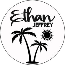 "Load image into Gallery viewer, 18"" Palm Tree Round Name Sign - Painted Background"