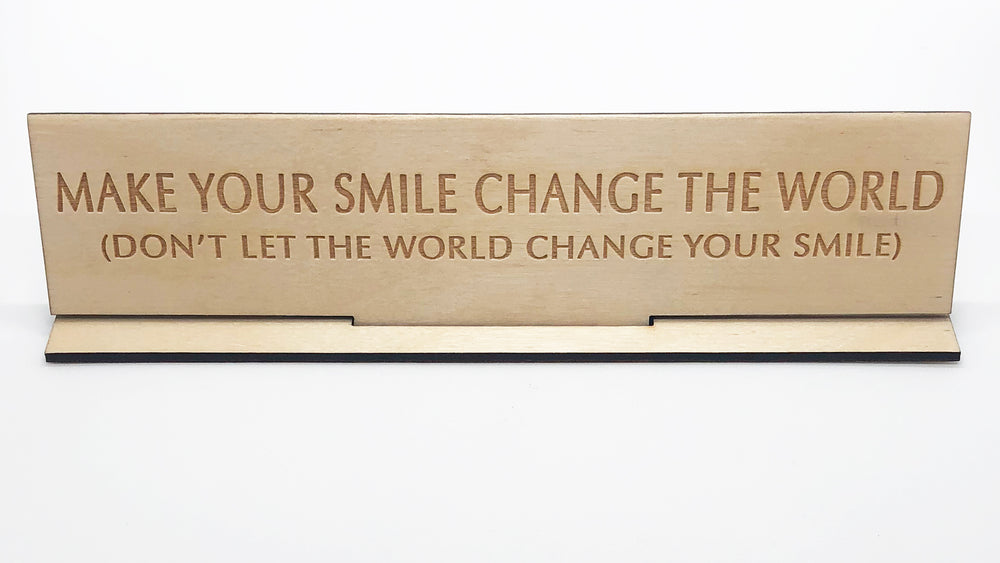 """Make A Change"" Wood Desk Plate"
