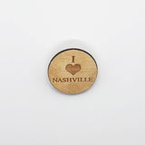 """I Love Nashville"" Wood Lapel Pin"