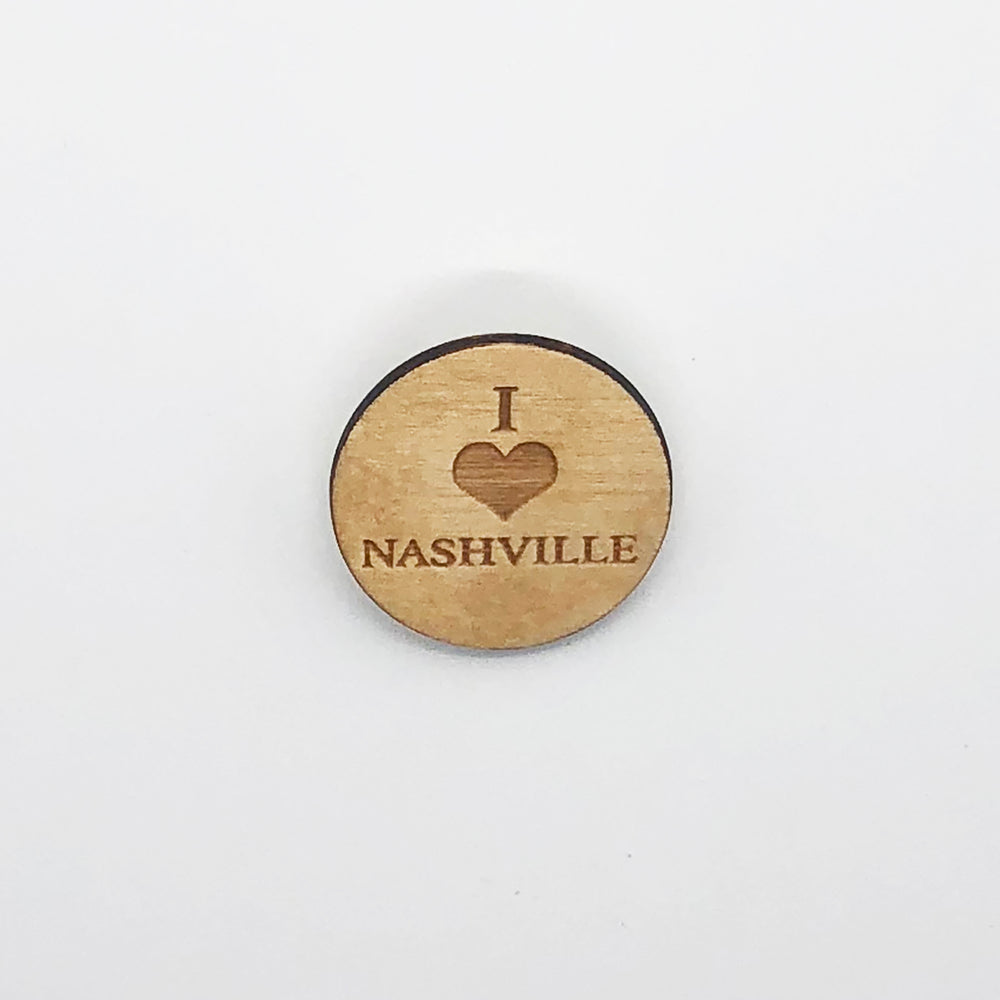 """I Love Nashville"" Wood Magnet"