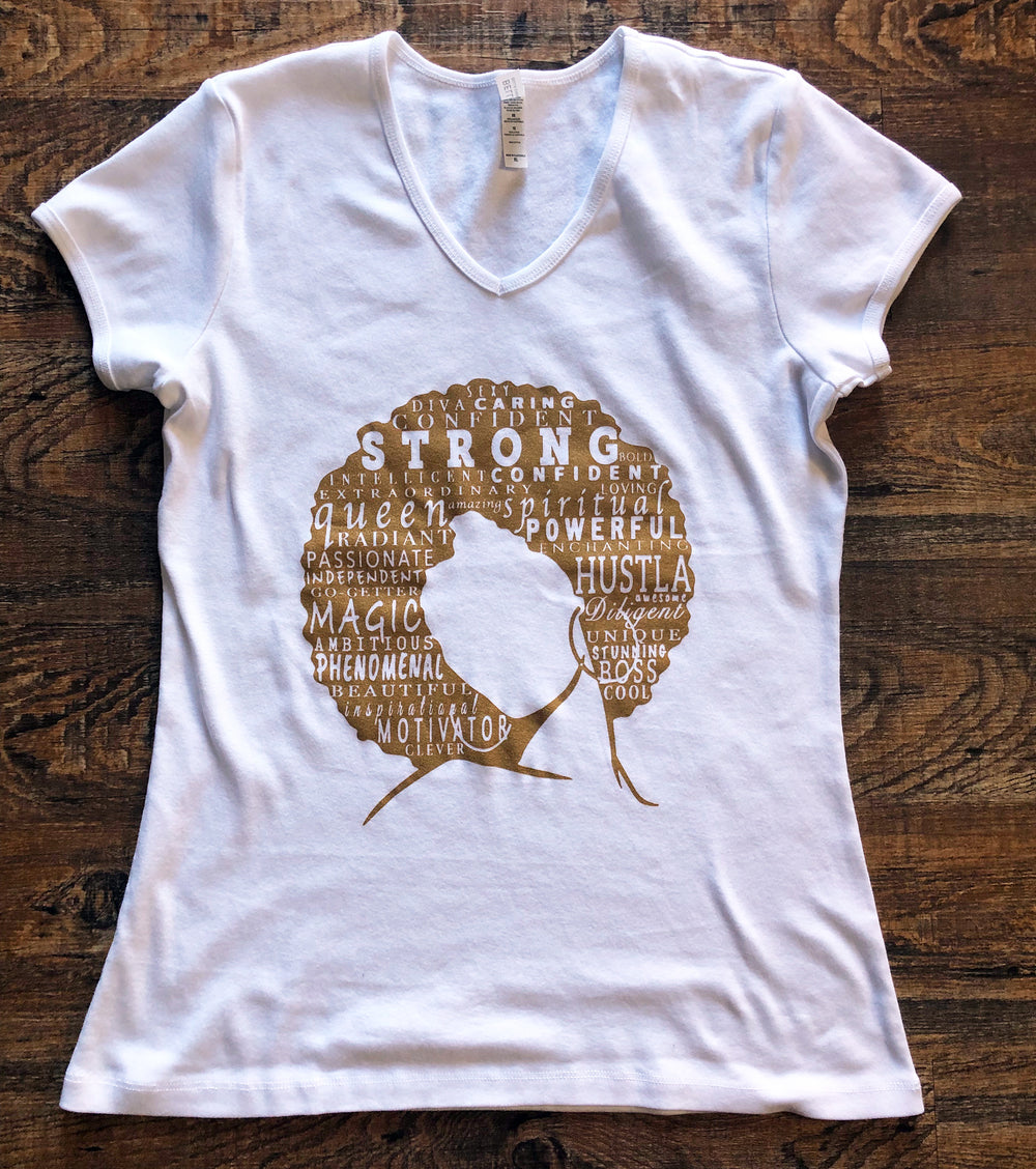 """Define Woman"" White + Gold V-neck Shirt"