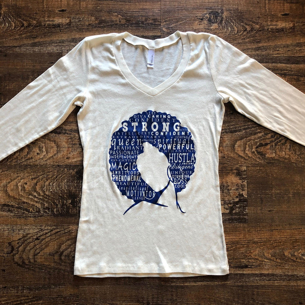 """Define Woman"" Cream + Blue Long Sleeve V-Neck Shirt"
