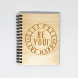 """Live Free Live Happy"" Mini Wood Notebook"