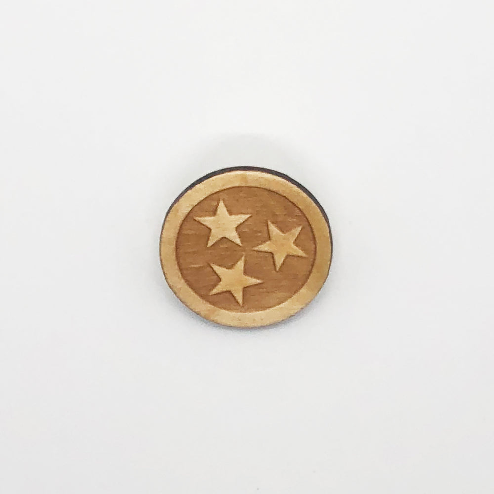 """Tennessee Stars"" Wood Lapel Pin"