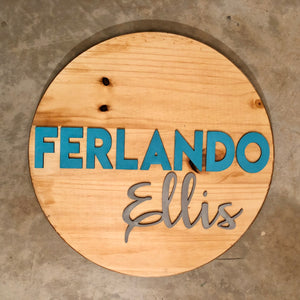"18"" Round Name Sign - Stained Background"