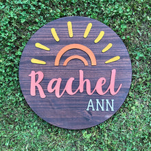 "Load image into Gallery viewer, 18"" Sunshine Round Name Sign - Stained Background"