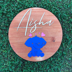 "24"" Elephant Love Round Name Sign - Stained Background"