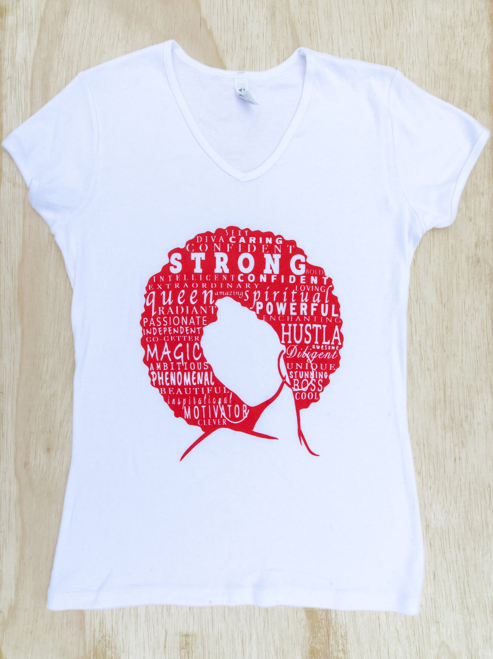 Define Woman White & Red V-neck Shirt