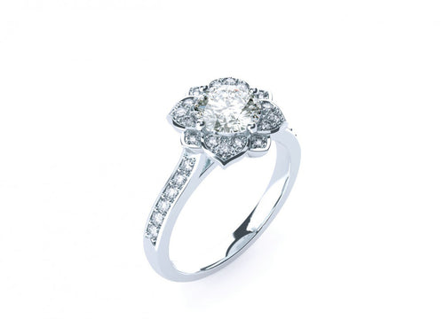 Lotus Brilliant | Diamond accented Halo