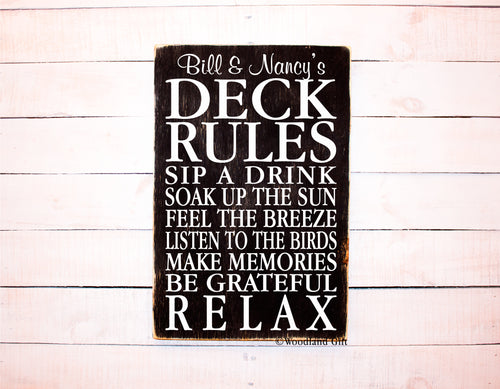Personalized Deck Rules Outdoor Sign