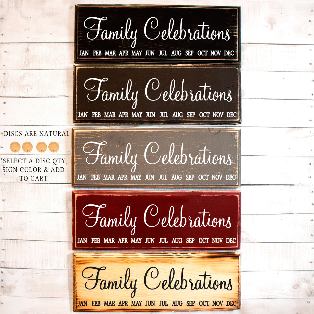 Family Celebrations Calendar Wood Sign